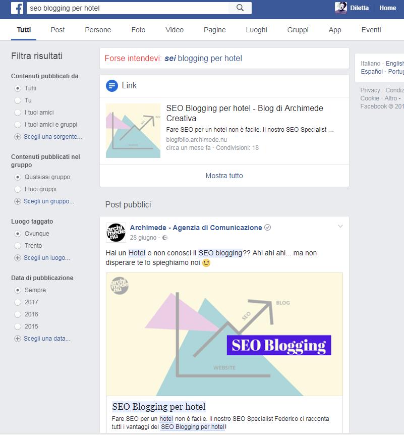 link in facebook non saranno modificabili